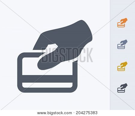 Credit Card Swipe - Carbon Icons. A professional, pixel-perfect icon designed on a 32x32 pixel grid and redesigned on a 16x16 pixel grid for very small sizes