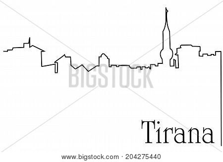 Tirana city one line drawing - abstract background with cityscape of European capitol