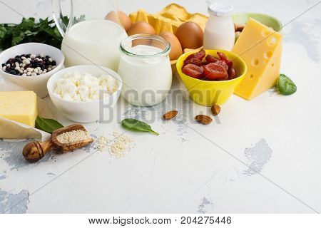 Group of products rich of calcium. Healthy food background. Selective focus. Space for text