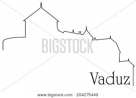 Vaduz city one line drawing - abstract background with cityscape of European capitol