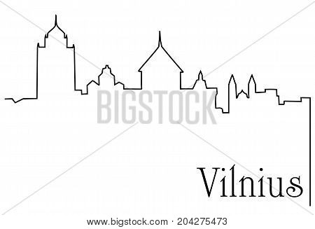 Vilnius city one line drawing - abstract background with cityscape of European capitol