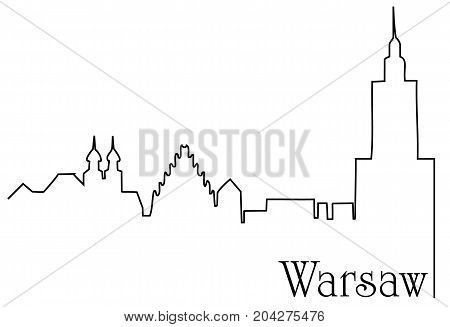 Warsaw city one line drawing  - abstract background with cityscape of European capitol