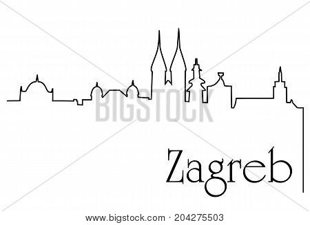 Zagreb city one line drawing - abstract background with cityscape of European capitol