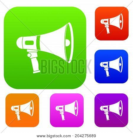 Megaphone set icon color in flat style isolated on white. Collection sings vector illustration