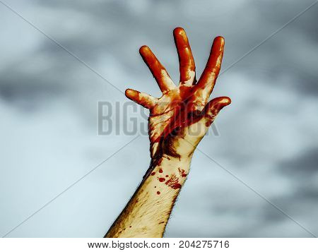 Halloween Bloody Fingers On Grey Sky Background