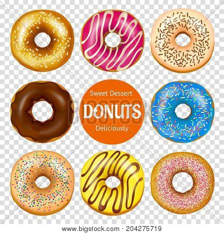 Set of realistic donuts with colorful culinary decoration including chocolate frosting isolated on transparent background vector illustration