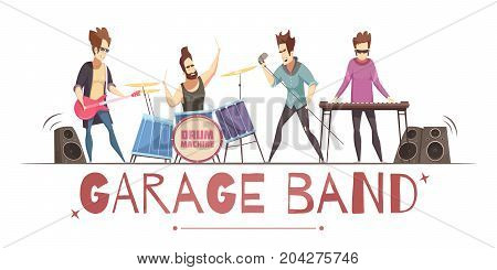 Open air festival garage band performance retro cartoon banner with singer guitarist drummer and amplifiers vector illustration