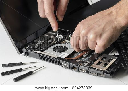 The engineer only arms repairs the laptop computer . Installs the equipment cpu