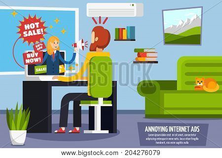 Colored annoying intrusive advertisement orthogonal composition with hot sale buy now sale ads in internet vector illustration