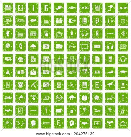 100 audio icons set in grunge style green color isolated on white background vector illustration