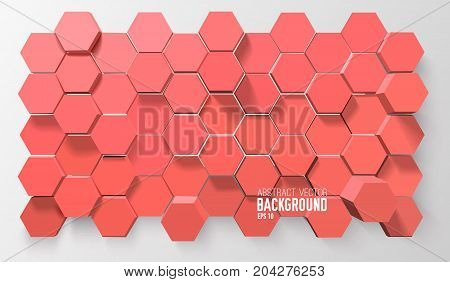 Futuristic atomic background with 3d red hexagons of honeycomb structure vector illustration