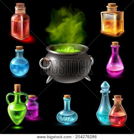 Potion pot cauldron collection with isolated images of colourful glass tubes and flasks with big potty vector illustration