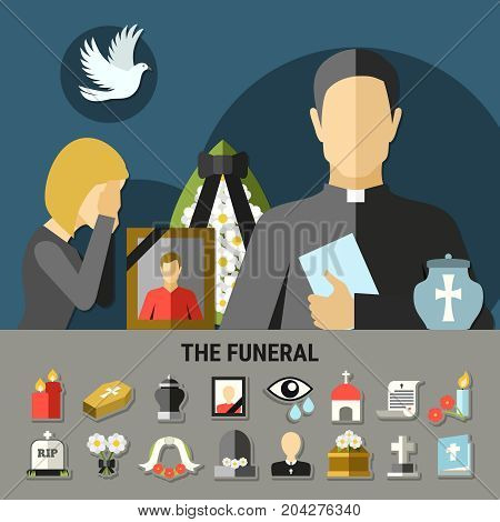 Funeral and mourning composition with wreath tomb and priest flat vector illustration