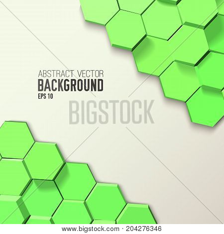 Geometric abstract template with 3d green hexagons in mosaic style and gray background vector illustration