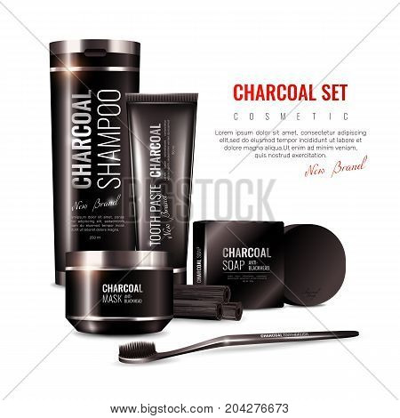 Charcoal cosmetics in black packaging including toothpaste, mask, shampoo, hard soap on white background 3d vector illustration