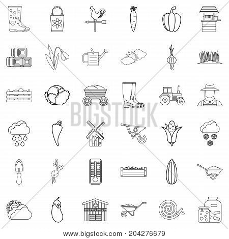 September icons set. Outline style of 36 september vector icons for web isolated on white background