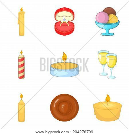 Birthday candle icons set. Cartoon set of 9 birthday candle vector icons for web isolated on white background