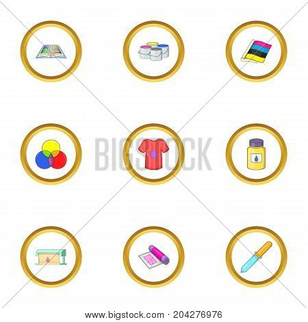 Printing icons set. Cartoon style set of 9 printing vector icons for web design