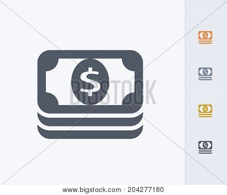 Stack of Dollar Bills - Carbon Icons. A professional, pixel-perfect icon designed on a 32x32 pixel grid and redesigned on a 16x16 pixel grid for very small sizes