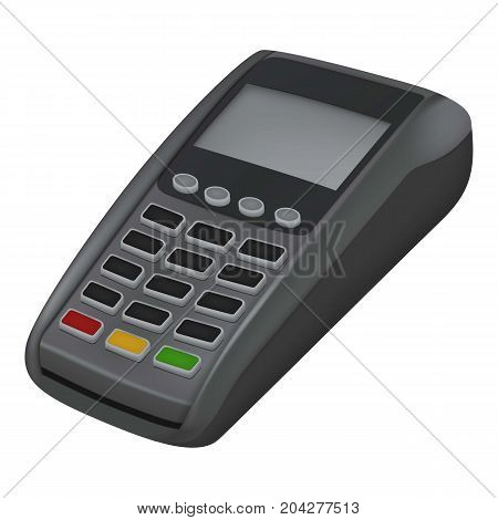 Pay credit card icon. Realistic illustration of pay credit card vector icon for web design isolated on white background