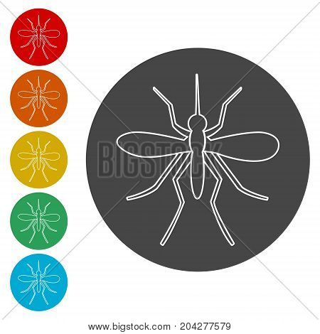 Mosquito icons set, simple vector icon on circle