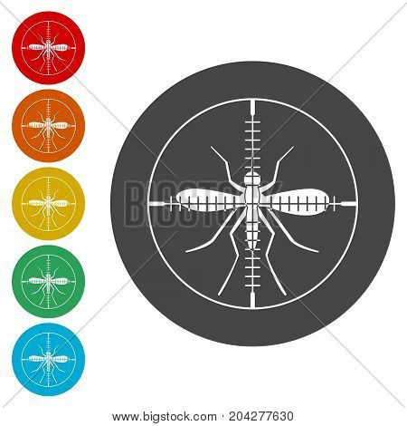 Zika virus icons set, target mosquito icon