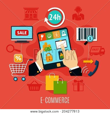 E-commerce round composition with mobile device in hands, purchases online icons on red background vector illustration