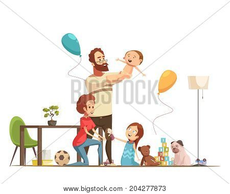 Young family with kids home playing with baby boy and little girl retro cartoon poster vector illustration