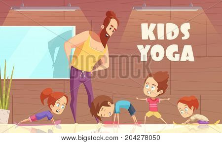 Kids yoga training vector illustration with learning instructor and children in different sport poses flat cartoon vector illustration