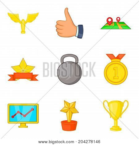 Gold coaching icon set. Cartoon set of 9 gold coaching vector icons for web design isolated on white background