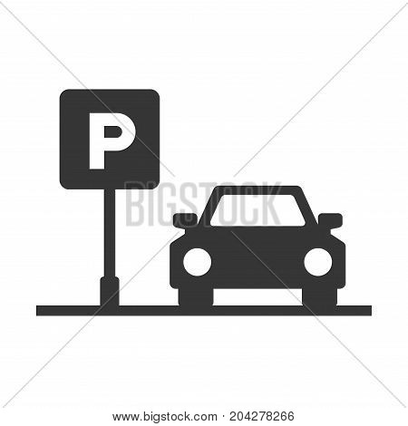 Parking Area Sign with Car on White Background. Vector Illustration