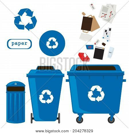 sorting of waste and recycling - paper. Symbols, types. Sorting garbage. Ecology and recycle concept. vector flat illustrations.