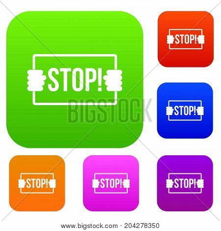 Stop set icon color in flat style isolated on white. Collection sings vector illustration