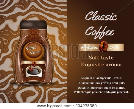 Coffee products ad. Vector 3d illustration. Instant coffee bottle template design. Arabica brand bottle advertisement poster layout.