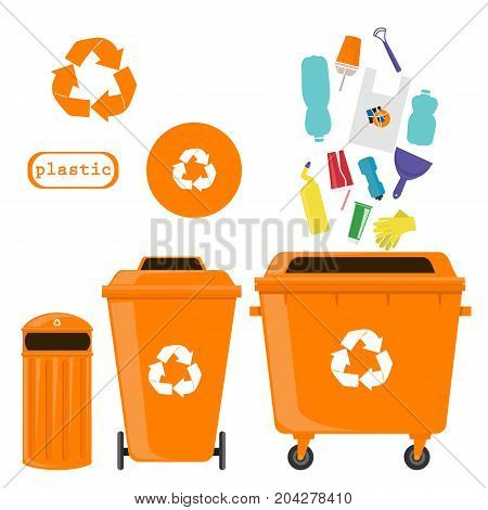 sorting of waste and recycling - plastic. Symbols, types. Sorting garbage. Ecology and recycle concept. vector flat illustrations.