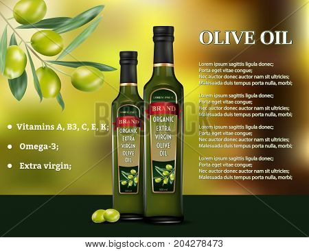Olive oil products ad. Vector 3d illustration. Cooking olive oil glass bottle template design. Oil bottle advertisement poster layout.