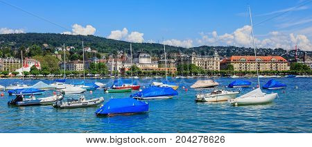 Zurich, Switzerland - 26 May, 2016: boats on Lake Zurich. Lake Zurich is a lake in Switzerland, extending southeast of the city of Zurich, which is the largest city in Switzerland and the capital of the Swiss canton of Zurich.