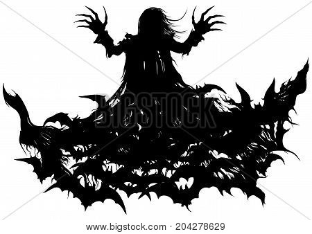 Silhouette of a vampire turning into bats' cloud