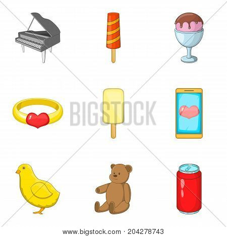Entertain icons set. Cartoon set of 9 entertain vector icons for web isolated on white background