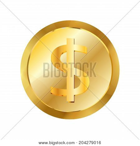 Dollar gold coin icon. Realistic illustration of dollar gold coin vector icon for web design isolated on white background