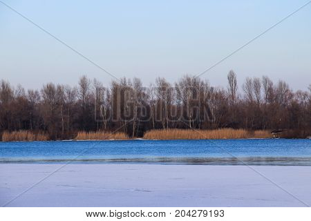View On The River Dnieper On Winter