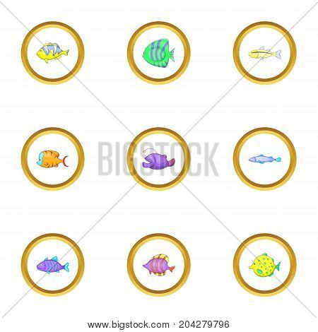 Color fish icons set. Cartoon style set of 9 color fish vector icons for web design