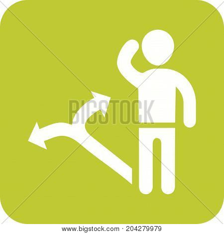 Decision, making, person icon vector image. Can also be used for soft skills. Suitable for use on web apps, mobile apps and print media.