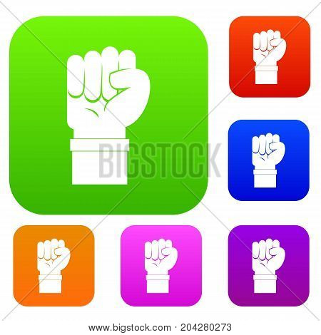 Fist set icon color in flat style isolated on white. Collection sings vector illustration