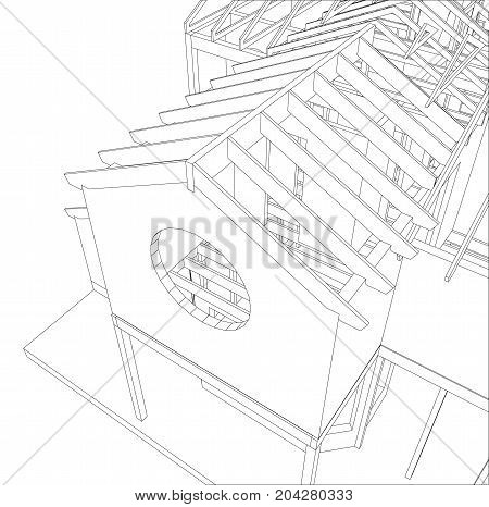 Vector sketch house on the white background. EPS 10. Vector created of 3d