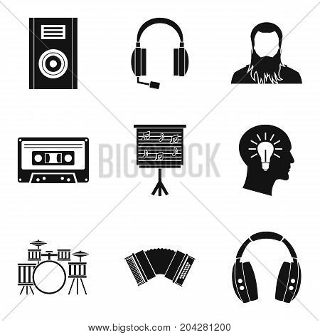 Musical tour icons set. Simple set of 9 musical tour vector icons for web isolated on white background