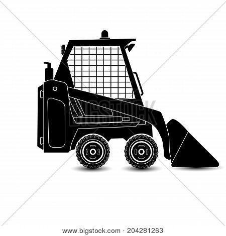 The vector isolated compact excavator.Black silhouette eps8