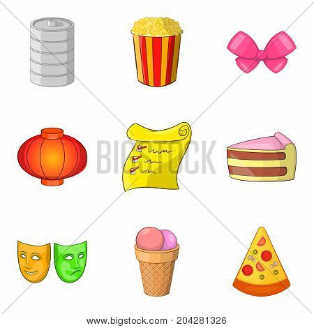 Delicious party icon set. Cartoon set of 9 delicious party vector icons for web design isolated on white background