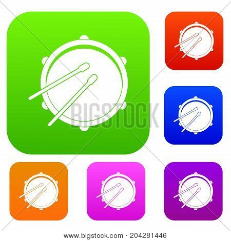 Drum set icon color in flat style isolated on white. Collection sings vector illustration
