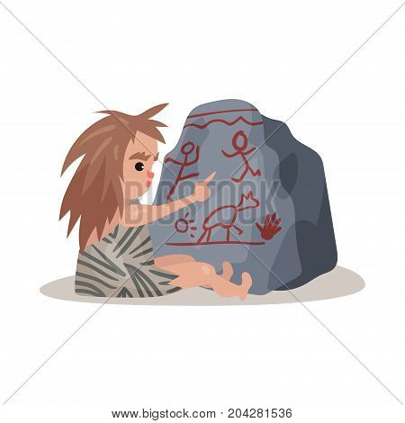 Stone age cave kid sitting on the floor and painting on the stone using his finger, colorful vector illustration on a white background